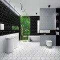 Утолщенная современная простая черная шестиугольная Водонепроницаемая самоклеющаяся плитка  обои  модная ванная комната  кухня  ПВХ решет...