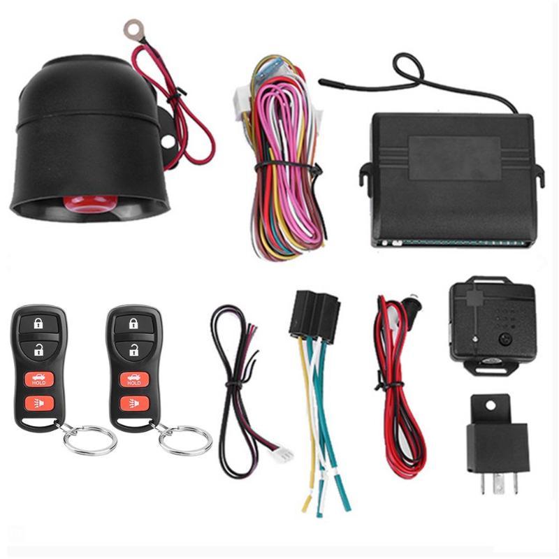 MASO Universal 12V Car Alarm Kit Remote Central Locking Kit Burglar Alarm Camper 2 Remote Controls Anti-theft with Shock Sensor