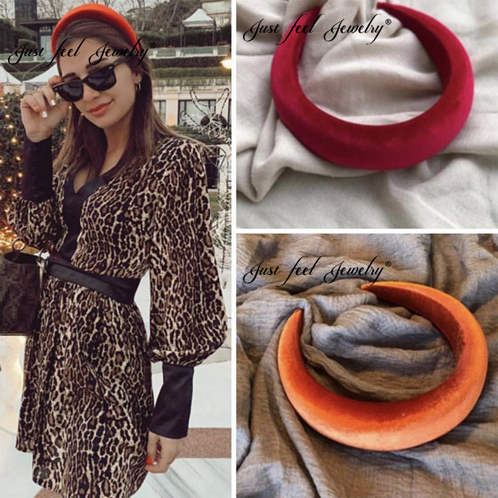 JUST FEEL 2019 New Thick Velvet Fashion Headbands Accessories Hair Band For Women 4.5CM Wide Vintage Headwear Plastic Hairbands