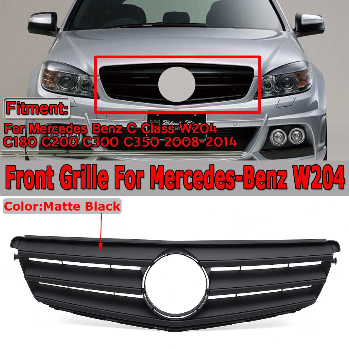 High Quality Car Front Grille Grill For Mercedes For Benz C Class W204 C180 C200 C300 C350 2008-14 Racing Grills Without EmblemHigh Quality Car Front Grille Grill For Mercedes For Benz C Class W204 C180 C200 C300 C350 2008-14 Racing Grills Without Emblem