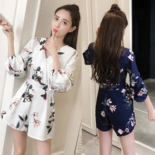 Spring, summer, the new Europe and the United States and sexy deep V floral print smoke plait of tall waist show thin wide-legge цены