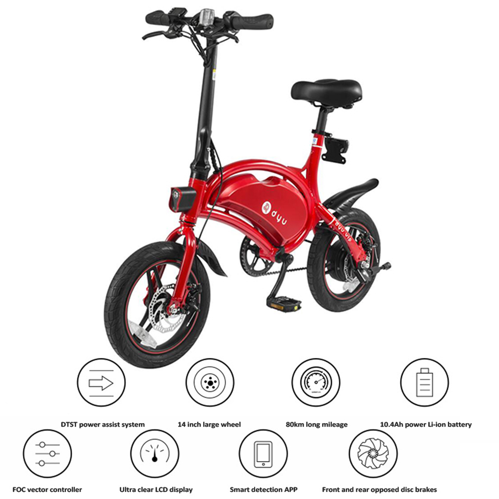 d03d52d0c33 F - Wheel DYU D3 Aluminum Alloy Smart Folding Electric Bike Moped Bicycle  10.4Ah Battery 14'' Tire 250W Motor Electric Bicycle