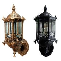 Sconces Loft retro wall lamp outdoor waterproof open air balcony corridor Garden yard lamp Antique Glass Without lamp source