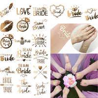 Equipo de despedida de soltera, tatuaje temporal, pegatina dorada, suministros de boda, para novia