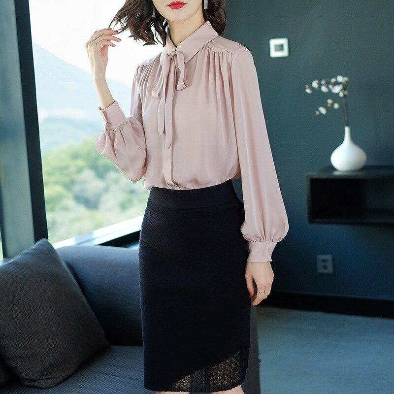 c2f32473fb56 Calidad Pink Mujer Beige Camisa Color Seda Nueva 2019 Temperamento ...