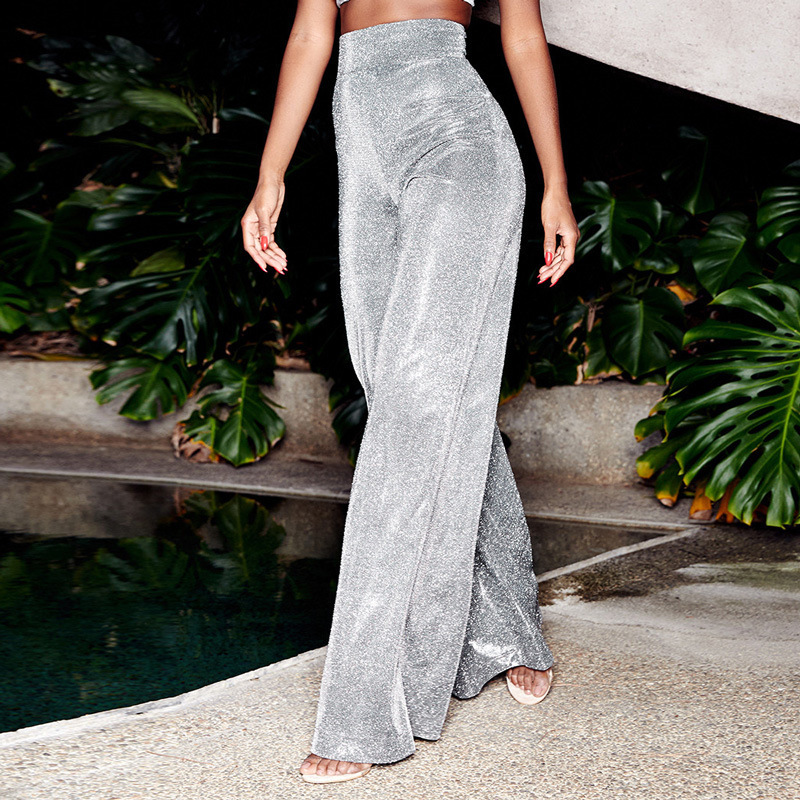 Silver Glitter High Waist Wide Leg Pants Women Sexy Straight Trousers Loose Bell Bottom Ball Party Pants Festival Club Wear 2019