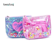 Summer Jelly Women Zipper Coin Purse Color Beads Mini Purse Waterproof PVC Handbag Cartoon Print Money Bags Change Pouch Wallet