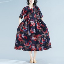 Ethnic Style Women Vintage Cotton Linen Dress Floral Print Short Sleeves Robe Female 2019 Spring Summer O-neck Dresses Vestidos цена
