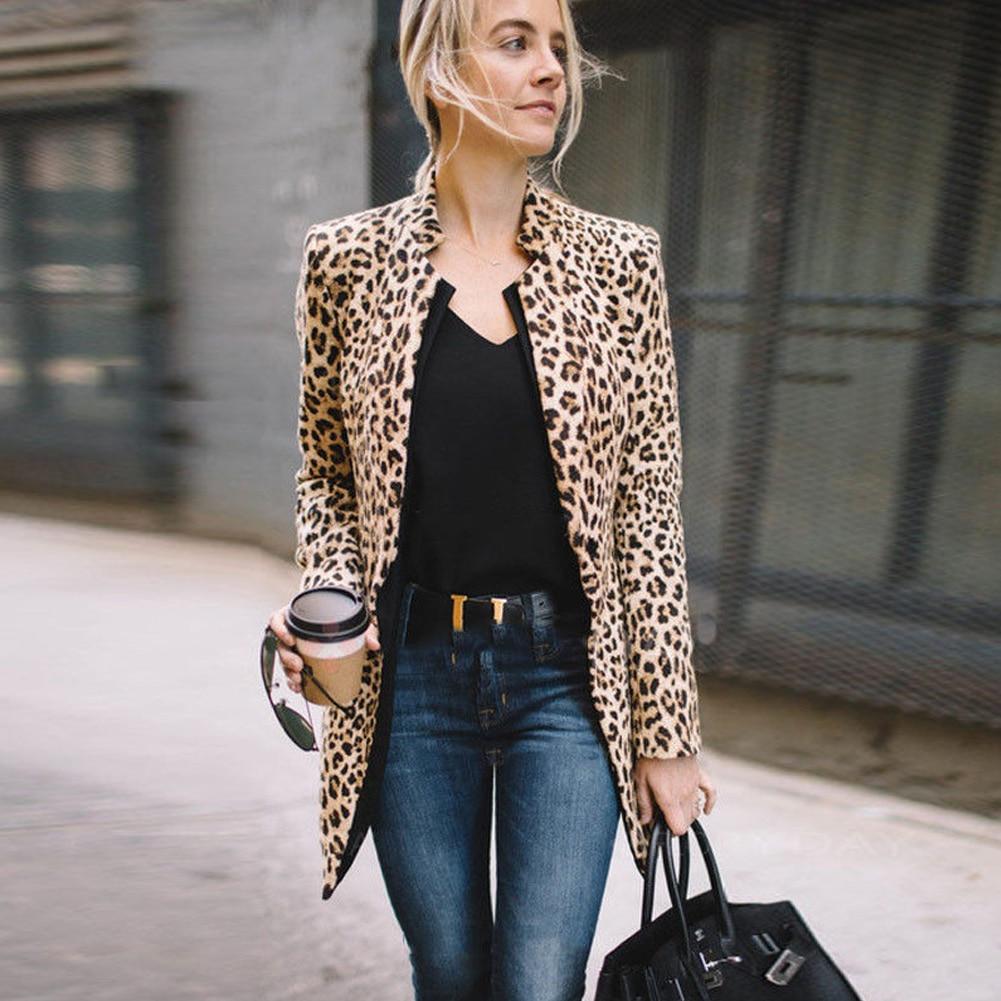 Fashion Women Lady Fashion Long Vest Cool Outerwear Long Sleeve Coat Suit Leopard Plus Size Tops jeans con blazer mujer