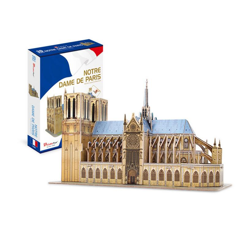 53pcs World Famous Architecture Notre Dame De Paris DIY 3D Paper Puzzle Model Toys For Children Room Decor