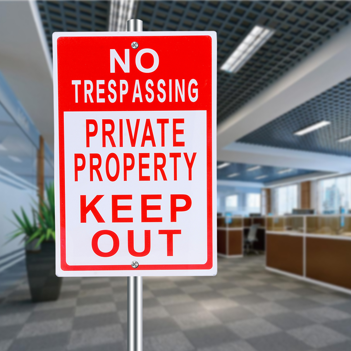 8x12 inch Metal No Trespassing Sign Private Property Keep Out Do Not Enter Aluminum Signs for Office Outdoor Warning Supplies trespassing signs