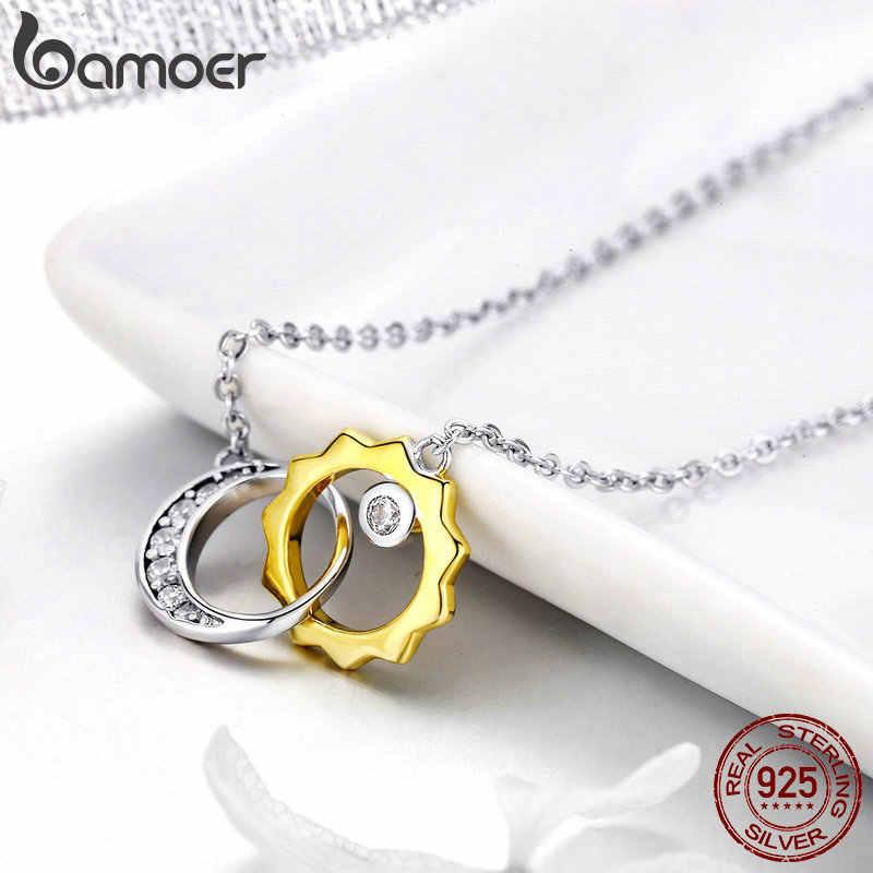 BAMOER moda 925 ayar gümüş güneş ve ay aşk hikayesi kadın kolye kolye ayarlanabilir gümüş takı BSN039