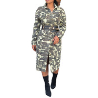 YJSFG HOUSE Women Camouflage Dresses Bodycon With Sashes Party Long Dress Sashes Ladies Military Spring Autumn Button Long Dress