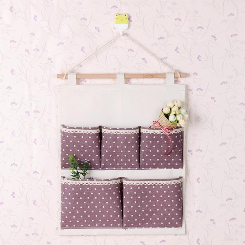 5 bolsos de parede pendurado saco de armazenamento pontos impresso algodão linho pacote porta da cozinha pendurado bolsa cosméticos organizador sacos