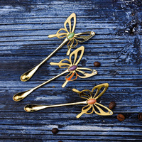 Butterfly Coffee Spoon Honey Mixing Spoon Set of 3 Color Mini Spoon Stainless Steel Tea Spoon Seasoning Spoon Restaurant, Home