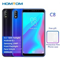 HOMTOM C8 5.5 Android 8.1 Quad Core 2GB RAM 16GB ROM Mobile Phone Face ID 13MP Dual Cams Dual SIM Cell Phone 4G LTE Smartphone