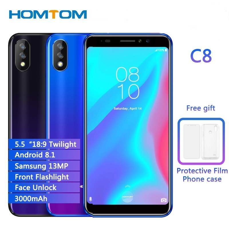 HOMTOM C8 5.5″ Android 8.1 Quad Core 2GB RAM 16GB ROM Mobile Phone Face ID 13MP Dual Cams Dual SIM Cell Phone 4G LTE Smartphone