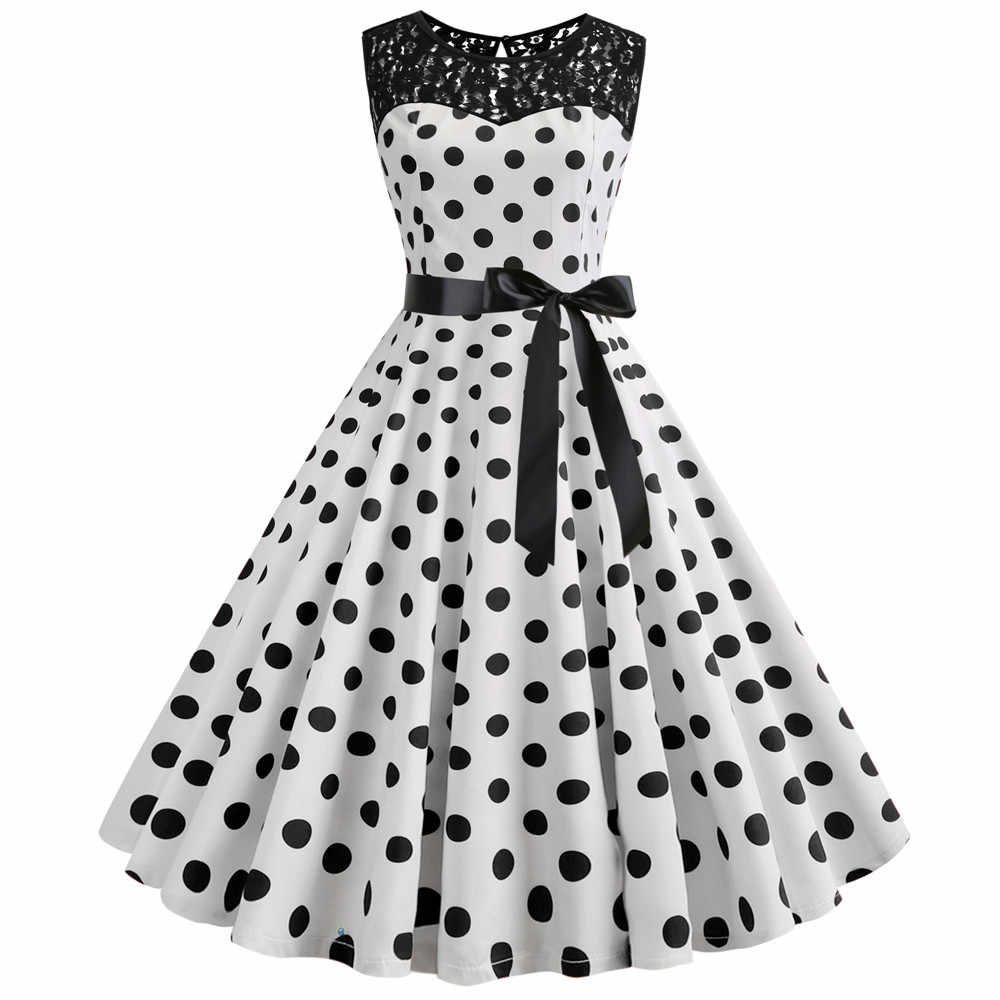 Retro Summer Polka Dot Dress 50s 60s Audrey Hepburn Vintage Lace Dress Pin Up Rockabilly Casual Sexy Party Dress Plus Size Robe