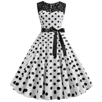 d6406af72 Retro verano Polka Dot vestido 50 s 60 s Audrey Hepburn vestido de encaje  Vintage Pin Up Rockabilly Casual Sexy de fiesta plus tamaño vestido túnica