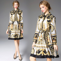 2019 long sleeve bow Runway Dress Women's Quality Bow Collar Baroque Printing Casual yellow Dress Party Vestido