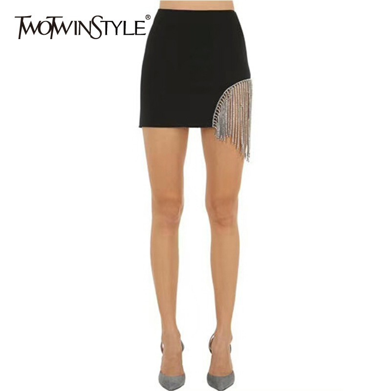 TWOTWINSTYLE Patchwork Diamond Tassel Skirt Women High Waist Black Sexy Mini Skirt Female 2020 Autumn Fashion Clothes Large Size