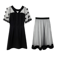 New Women dress Three Kinds Tees Bothfore And After Wearing Outfit Dresses Black Apricot 5898
