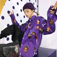 #5027 Hip Hop Shirt Women Men Lovers Casual Long Sleeve Harajuku Punk Tunic Printed Plus Size Loose Korean Style