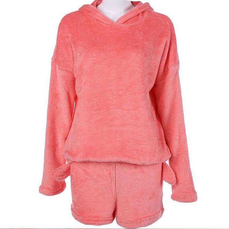 8177b707d675 Fashion Women Cute Cat Long Sleeve Warm Hoodie Top Shorts Sleepwear Pajamas  Set Coral Fleece Warm