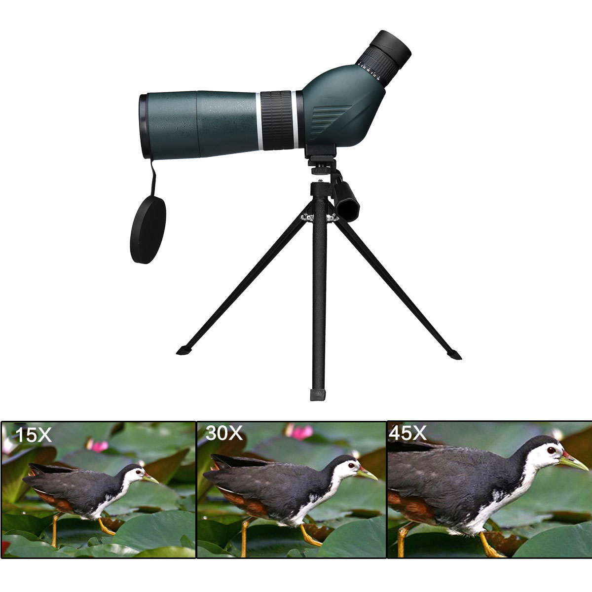 15 45x60 Night Vision Monocular Binoculars Waterproof HD Zoom Spotting Scope Telescope + Tripod&Clip for iPhone XR for Android
