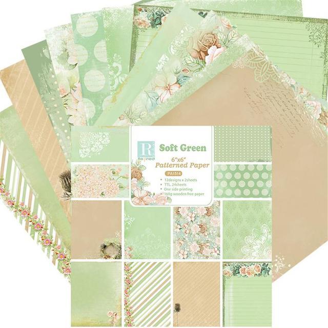 24 hojas suave verde DScrapbooking Pads papel Origami arte Fondo Tarjeta de papel hacer DIY cumpleaños Scrapbook papel artesanal # CO