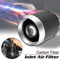 Universal Intake Air Filter Auto Car Real Carbon Fiber Hi Flow Air Filter For Cold Air/Short Ram Intake Cleaner Funnel Adapter