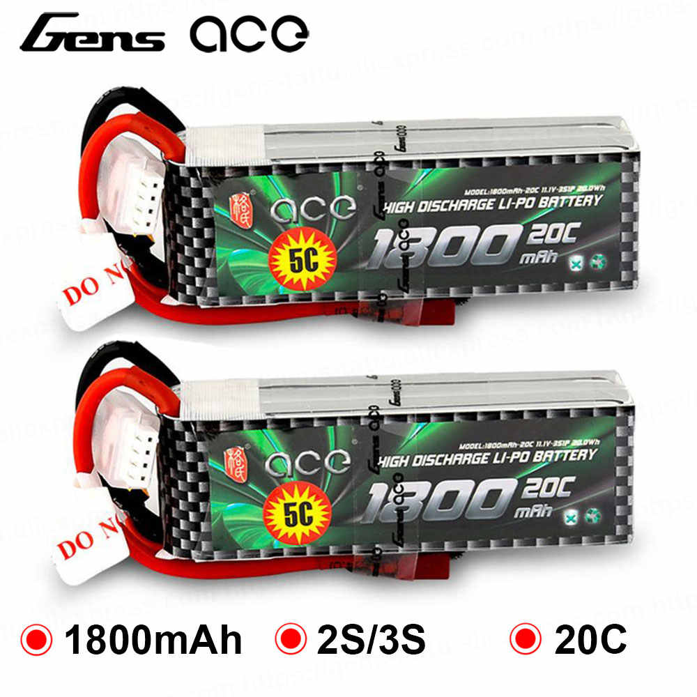 2Pcs Gens ace 2S 3S Lipo Battery 1800mAh 7.4V 11.1V 20C-40C Deans Plug Battery Pack for Aircraft Small 1:16 RC Car E dedicated
