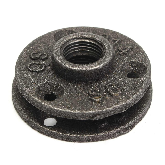 10Pcs 1/2″ 3/4″ Black Decorative Malleable Iron Floor/Wall Flange Malleable Cast Iron Pipe Fittings BSP Threaded Hole