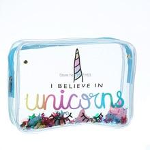 I Believe In Unicorn Transparent Travel Cosmetic Bag Make Up Case Makeup File Bag Women Organizer Toiletry Storage Cosmetc Bag