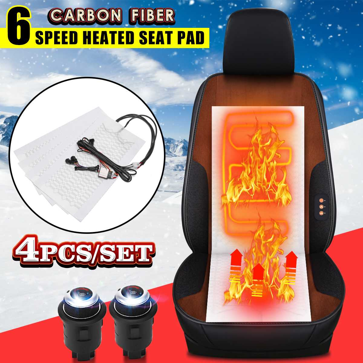 Seat-Covers Heating-Heater Carbon-Fiber Universal Winter 4pcs 12V Warmer 6-Level