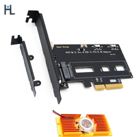 HL NGFF M.2 NVME PCI E SSD to PCI E 3.0x 4X Adapter with Cooling Fan and Low/high Profile Bracket for Desktop PC