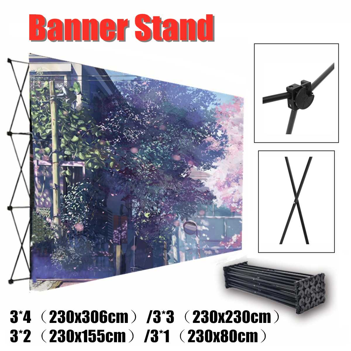 4 tamaños de aluminio flor pared plegable soporte marco boda telón de fondo decoración Banner presentación anuncio soporte de exhibición