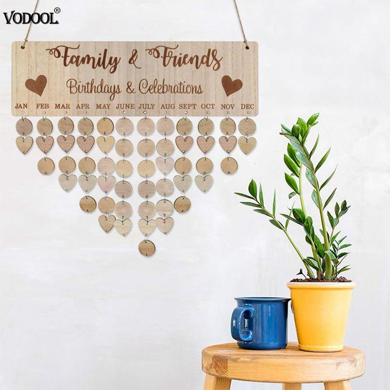 DIY Wooden Calendar Round Love Plates Birthday Sign Special Date Reminder Wall 2019 Planner Board Hanging Calendar Decor Gift