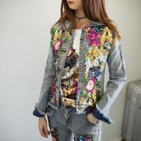 Women Embroidery Rose Floral Beading Pearl Sequin Patch Epaulet Ripped Hole Bomber Autumn Winter Denim Jacket Jeans Suit