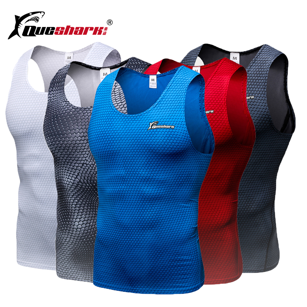 QUESHARK Men Compression Running Vest Sports Fitness Sleeveless Training Tank Tops Summer Quick Dry Body Shaper T-Shirt