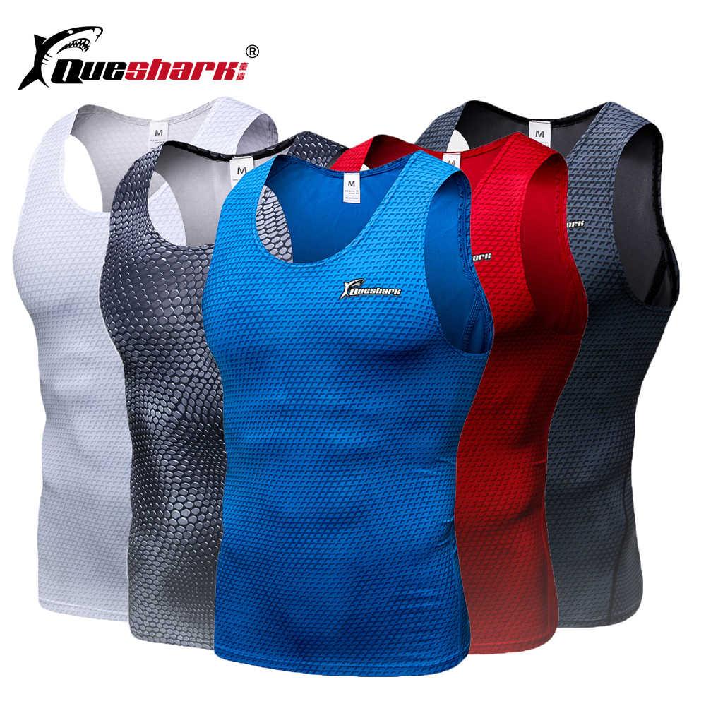 QUESHARK mężczyźni kompresji dres biegowy kamizelka Fitness sportowy bez rękawów szkolenia kamizelka bez rękawów lato szybkie suche urządzenie do modelowania sylwetki T-Shirt