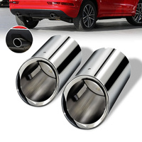 Pair Full Chrome Stainless Steel Car Muffler Exhaust Straight Tail Throat Liner Pipe Tips 80mm Inlet for AUDI A4 A5 A6 Q3 09 16