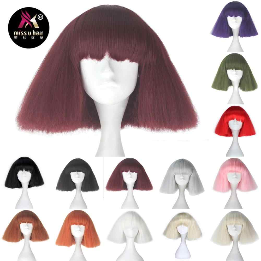 49b328fe7db094 Miss U Hair Girl Short Kinky Straight Taro Wig Synthetic Party Hair Black  Blonde Red White