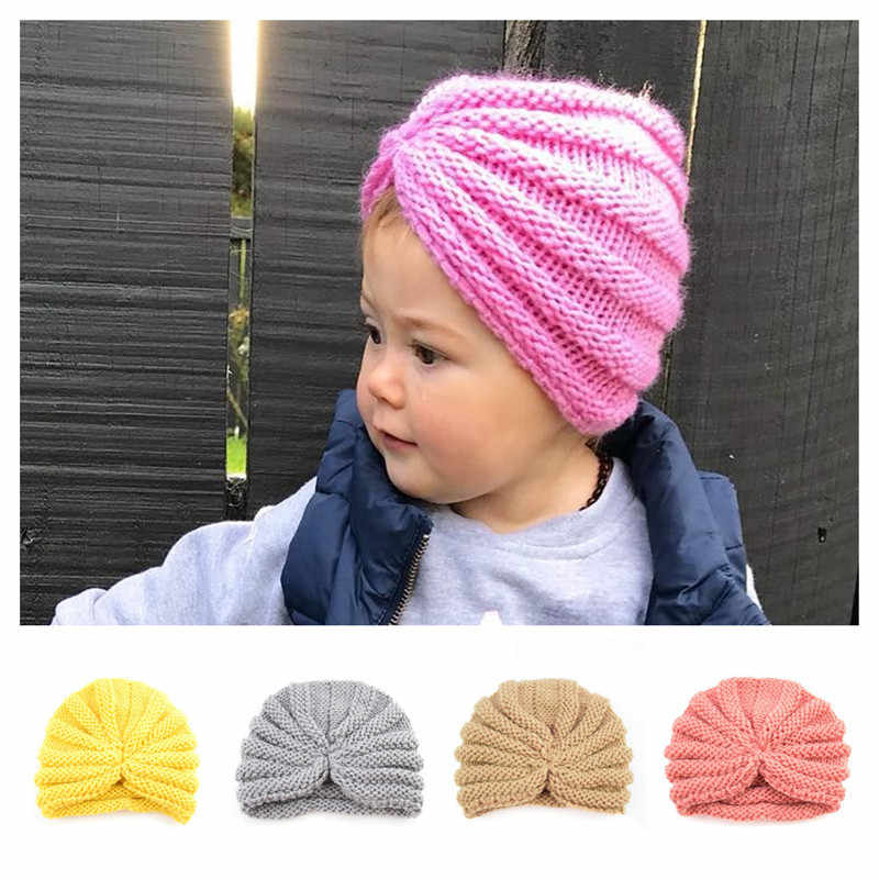 Winter Warm Baby Hats Infant Toddler Knitted Beanies Boys Girls India Turban  Hats Kids Warm Caps 70e8d3e9391c