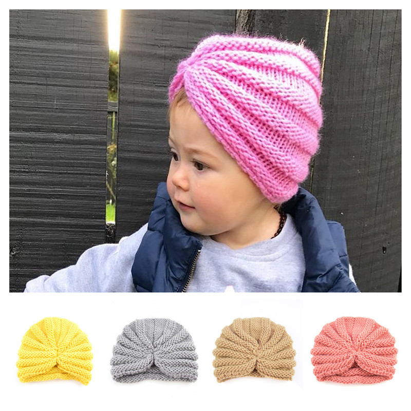 Newborn Baby Hat With Bow Knot Infant Beanie Cap Accessories For Kids Hats QL