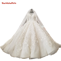 Vintage Many 3d Flowers Long Sleeve Wedding Dress Lace Crystals Pearls Puffy China Bride Dresses Luxury Wedding Gowns Church