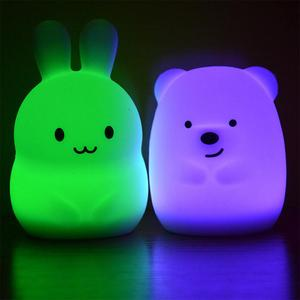 Image 3 - Yeni 7 renkler ayı tavşan LED USB hayvan gece lambası silikon yumuşak karikatür çocuk bebek kreş lamba led gece lambası