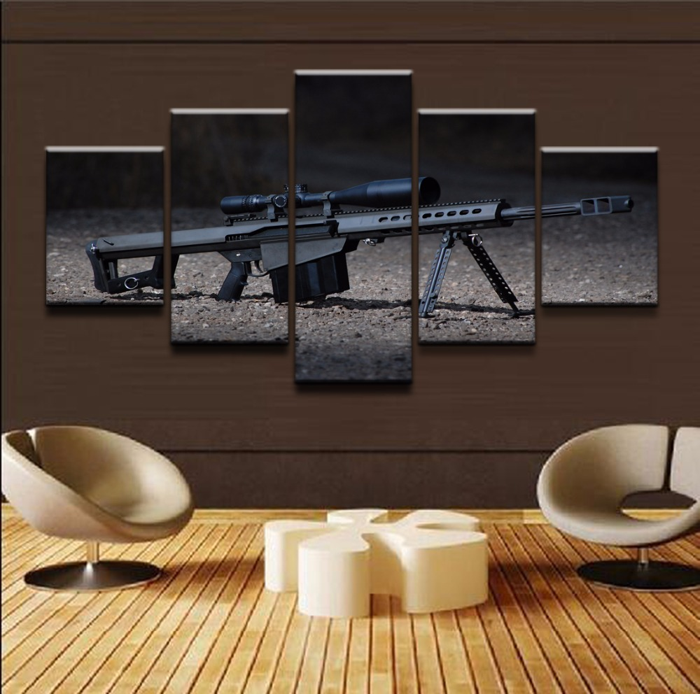 Canvas Painting Printed Poster Decoration Artwork 5 Panel Modern Canvas Pictures Sniper Rifle Wall Art Painting Framework in Painting Calligraphy from Home Garden