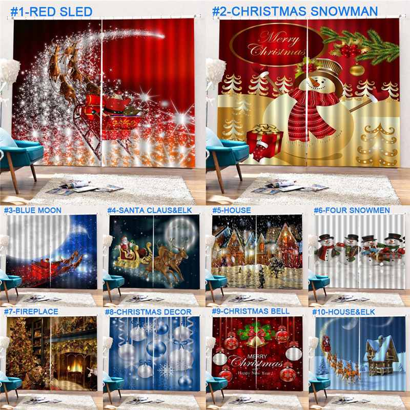 New Year Christmas Decorations Curtains For Living Room Bedroom Decor Santa Clause Snowman Reindeer Christmas Window Curtain New