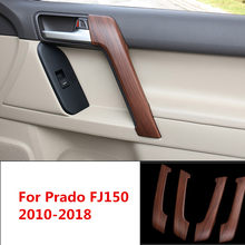 4 Pcs Kayu Pinus ABS Interior Handle Pintu Trim Cover untuk Toyota Land Cruiser Prado 150 FJ150 2010 2011 2012 2013 2014-2018(China)